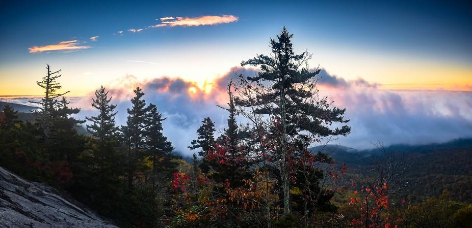 Beacon Heights, Blue Ridge Parkway, NC, sunrise in early fall,