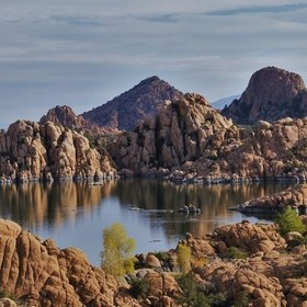 Watson Lake, the water shed for the city of Prescott Arizona is surrounded by interesting rock formations.  This early morning capture was a quie...