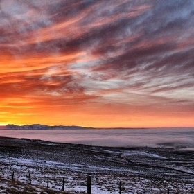 Above the low clouds at sunset in beautiful Northumberland.