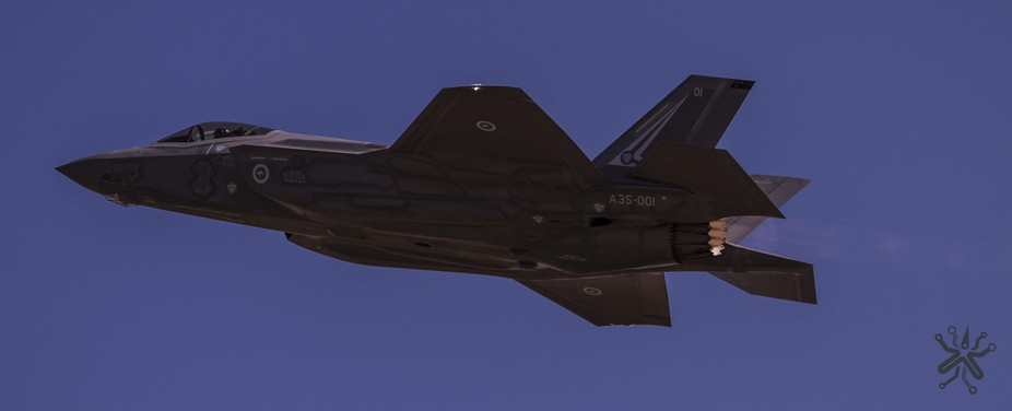The first F-35 Lightning II JSF to be delivered to the RAAF, seen here with afterburner lit up at...