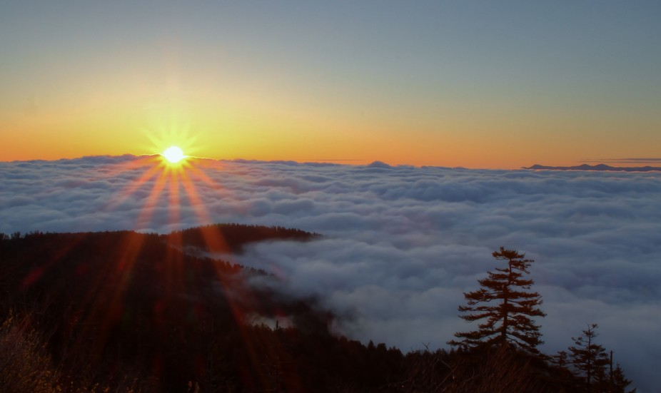 It's always fun to wait for the sunrise on Clingman's Dome.  This day there wer...