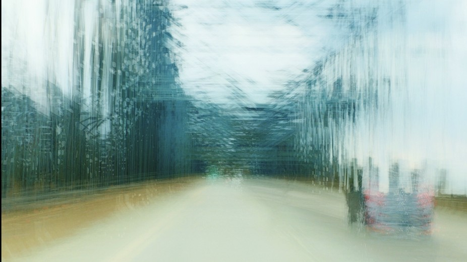 This image was taken, using a slow shutter speed, while crossing a bridge over the Mississippi Ri...