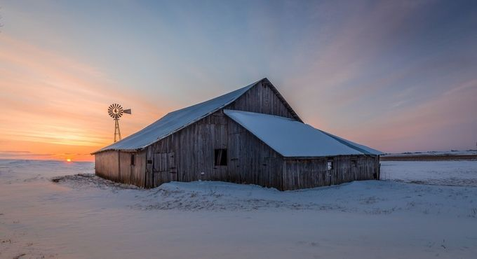 winter sunrise barn_ by tazzzer62 - The Moving Clouds Photo Contest