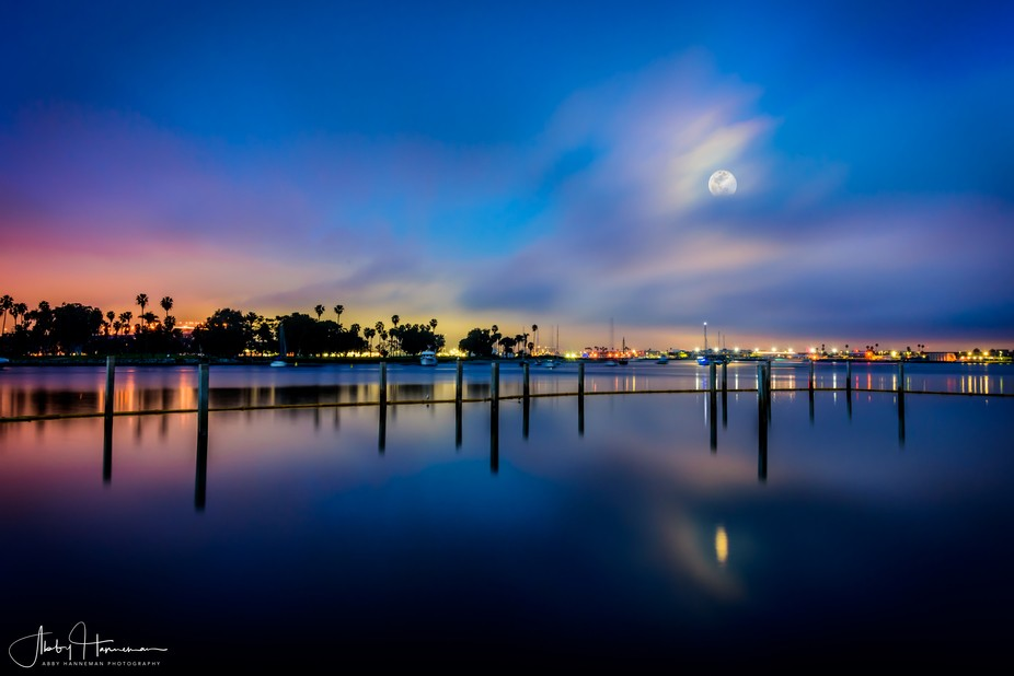 Caught the rising moon during the blue hour...