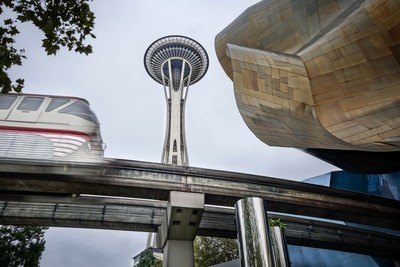 Icons of Seattle, Washington. The space needle, monorail, and the music experience museum