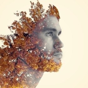 Double exposure self-portrait. You could say I like nature.
