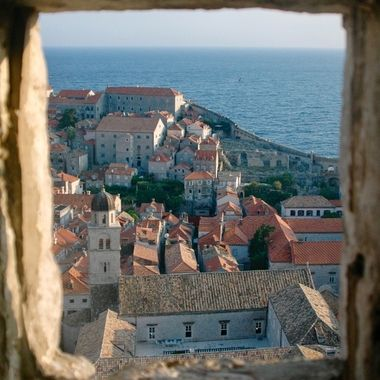 Looking out an old stone wall over a corner of Dubrovnik's Old City.