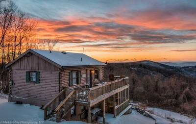 Winter Cabin Sunset