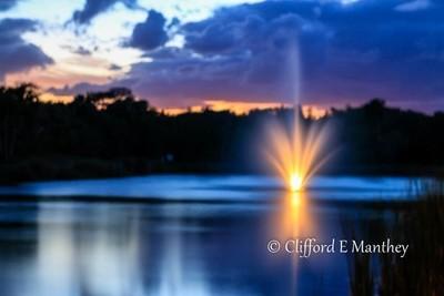 Sunset Fountain pond