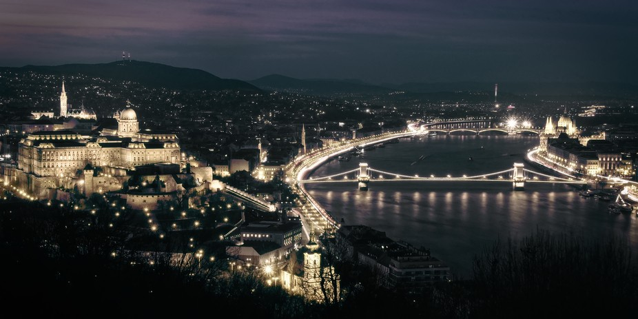 This is Budapest by night.