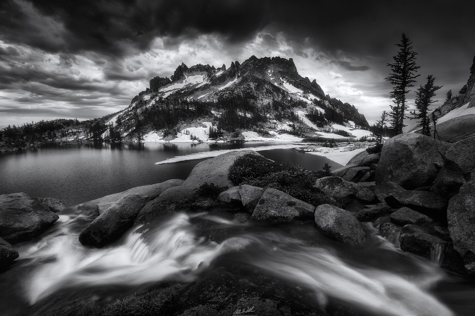 This was taken a particularly stormy day in the Enchantments. I processed a color version of this...