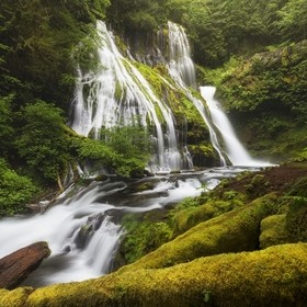 Getting down to this vantage point of Panther Creek Falls on the Washington side of the Columbia River Gorge took some effort, mostly scaling dow...