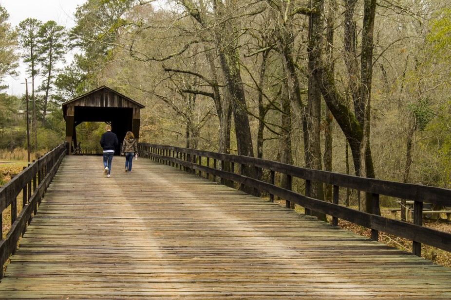 Photo taken at Red Oak Creek Covered Bridge, located near Woodbury, Georgia in Meriwether County.