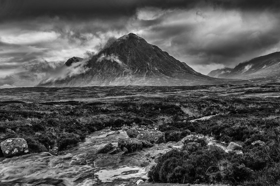 A mono conversion of the Buchaille Etive Mor, Glencoe, Scotland, showing mood, atmosphere and mys...