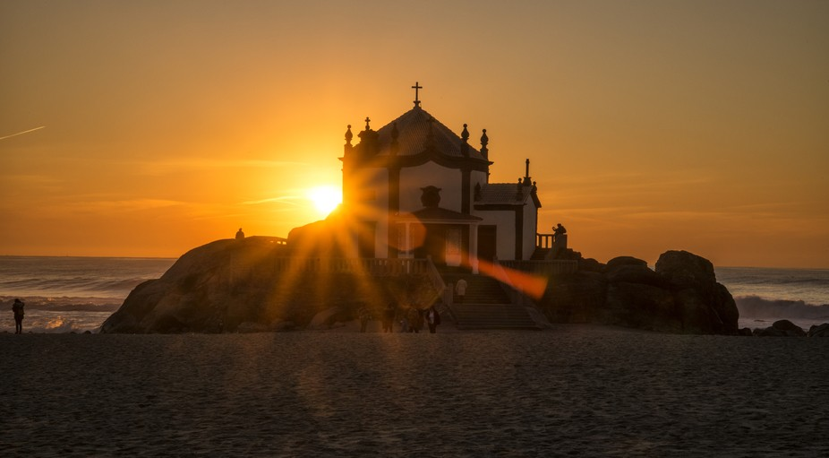"Chapel on the beach in Portugal, Senhor da Pedra, *in inglish, ""Lord of the stone&qu..."