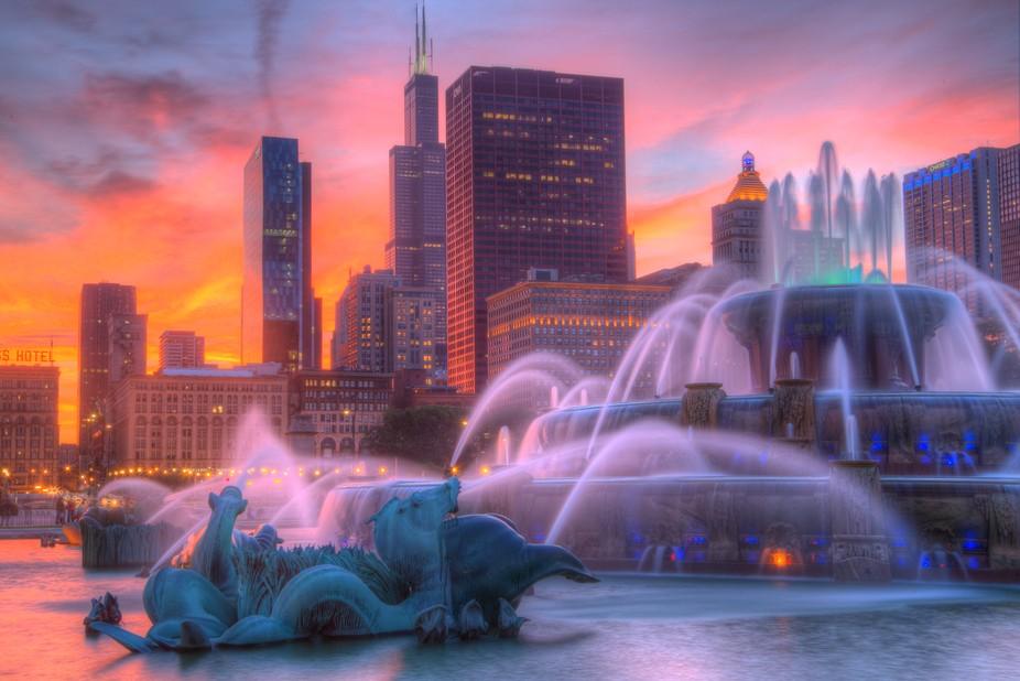 Buckingham Fountain Sunset