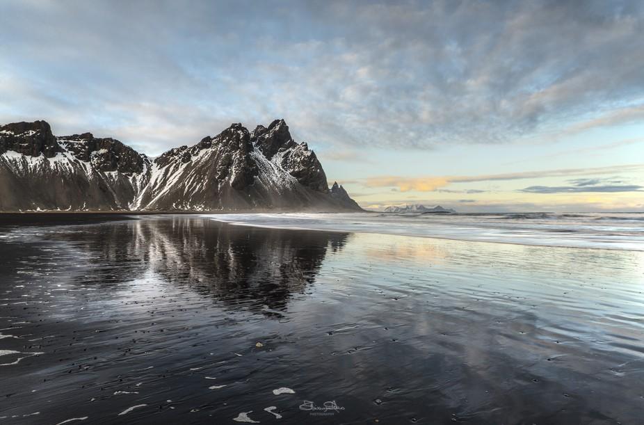 Traveling along the coast of iceland.