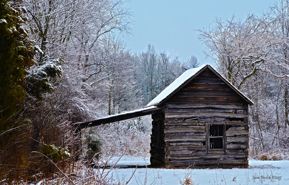 Went out this morning to take pictures of this cabin and old barns. This is done in HDR