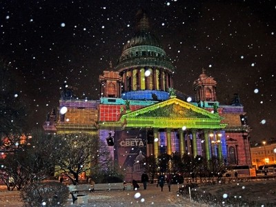 St. Isaac's Cathedral, St. Petersburg. Snowfall and the Festival of lights.