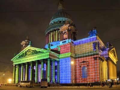 St. Isaac's Cathedral, St. Petersburg. The festival of lights in St. Petersburg.