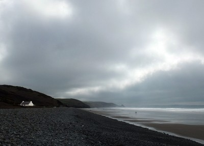 storm over newgale beach
