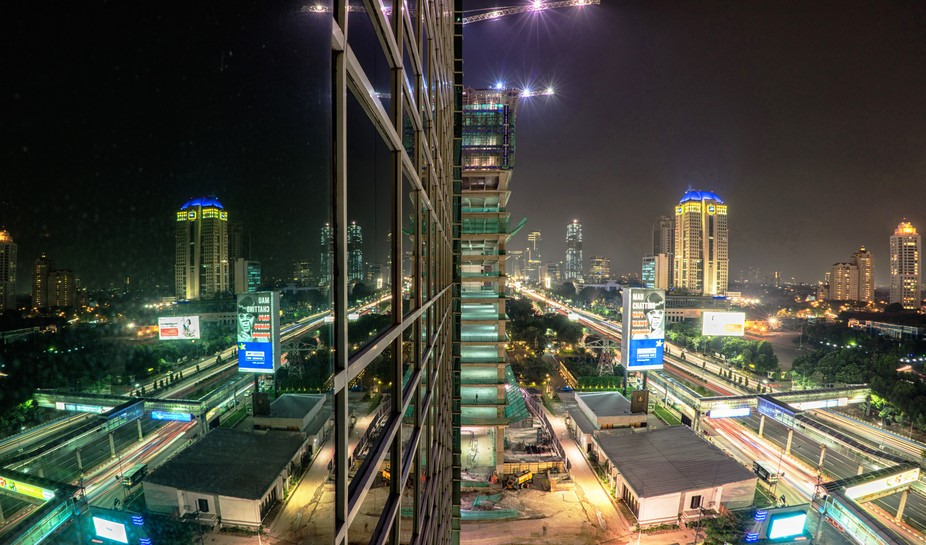 Jakarta busy streets at night
