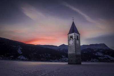 Bell tower in Reschensee(Lago di Resia)