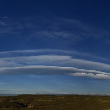 Strange cloud formation after sunrise on the Bighorn Mountains in Wyoming.