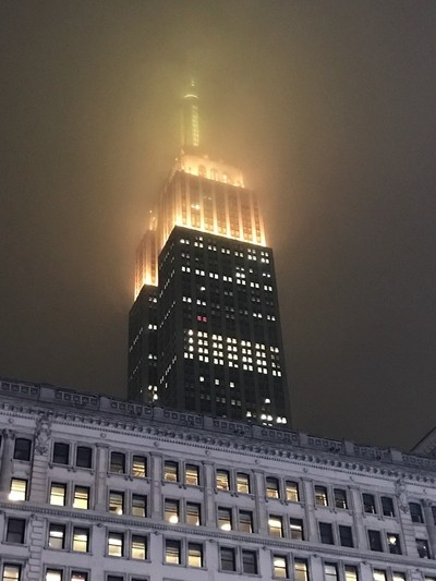 Empire State Building shrouded in mist