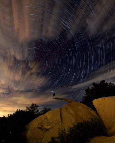 Potato chip rock. Multiple exposures for the foreground, star trails and lantern.