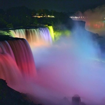 Beauty and the beast #niagrafalls #americanfalls #niagrariver #mist #light #shadows #projection #memorialdayweekend #unitedstates #america #newyork #newyork_instagram #picstitch #picoftoday #picofday #picoftheday #instamood #instatravel #instapic #canonph