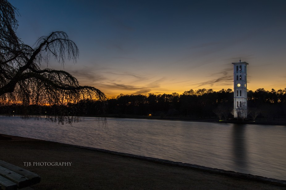 Furman University Lake and Bell tower at Sunset - Greenville, South Carolina USA
