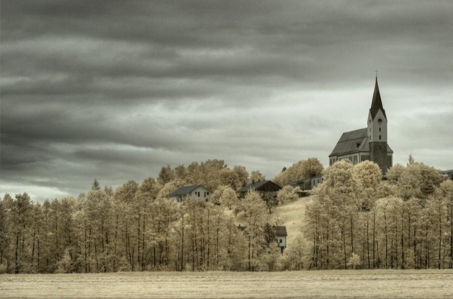 Infrared capture of Hengersberg in Bavaria
