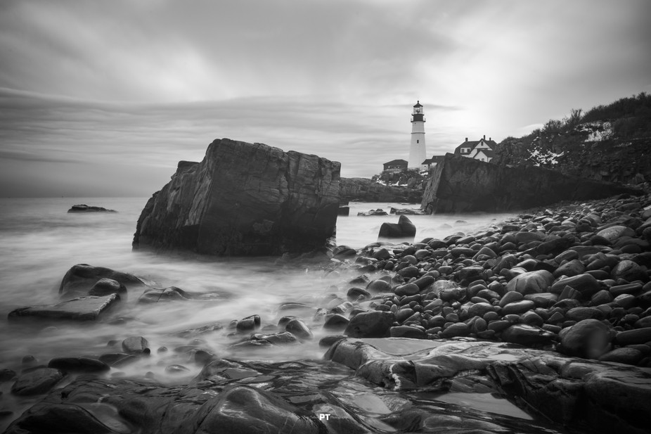 Portland Headlight in Black and White