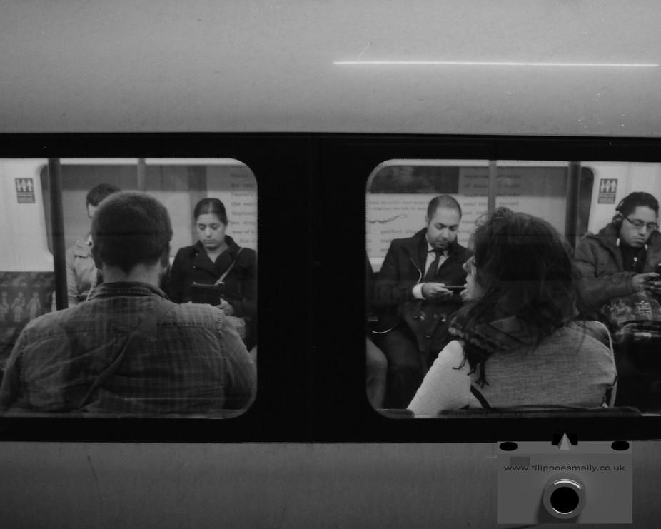 35mm film.   Instagram   @filippo.esmaily_bw_film_lover #OnTheTube #workinprogress #London #tube ...