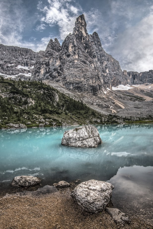 Taken in July at the beautiful Lago di Sorapiss with the Nikon 14-24. The central tower is Dito di Dio, the melodramatically named 'Finger of God'.