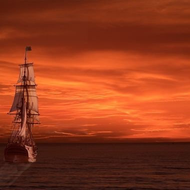 Ship is Lady Washington. Sunset was in Half Moon Bay. Two element composite.
