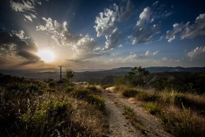 Sunset on the Sierra Nevada Mountain Road
