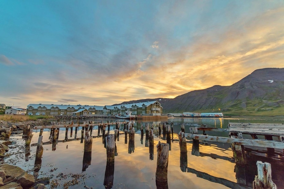 Shot towards the Siglo Hotel in Siglufjordur, the northernmost town in Iceland during late summer...