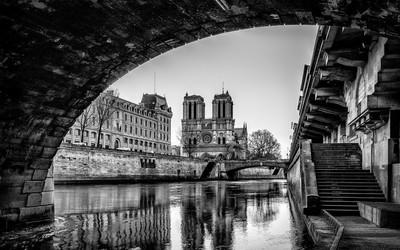 Notre Dame de Paris vue de sous le petit pont