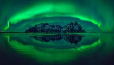 Stokksnes aurora Panorama