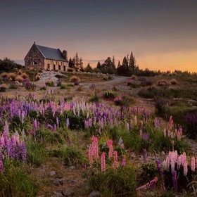 Sunrise at the famous church on the shore of Lake Tekapo in New Zealand
