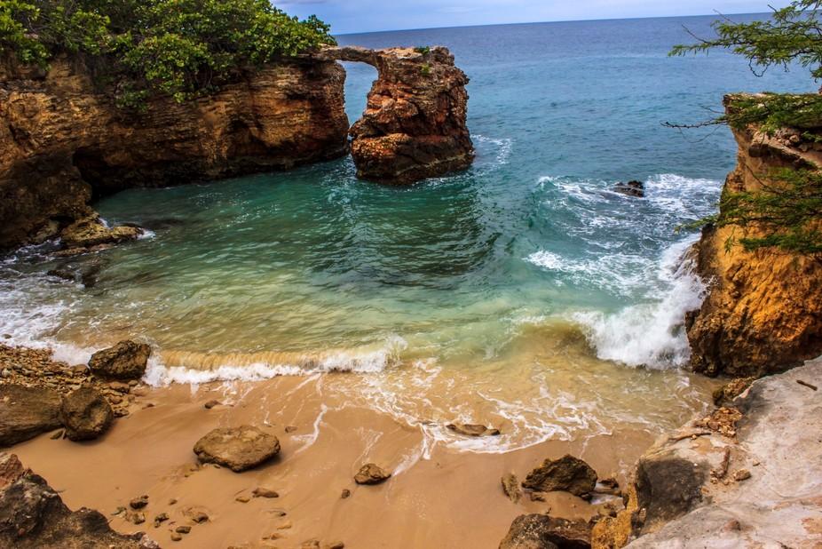 This a natural stone bridge in Cabo Rojo Puerto Rico..