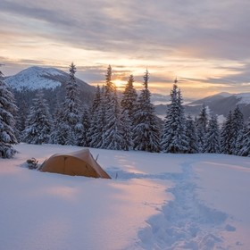 Early morning in the Carpathian Mountains. Winter adventure in wildlife area.