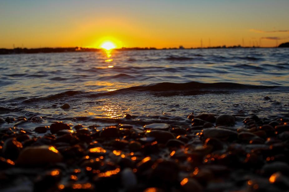 Low angle sunset on Block Island