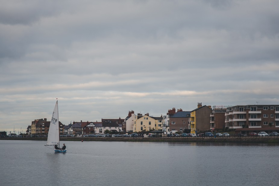 Boat in West Kirby on cloudy evening
