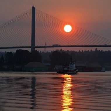 The sun was filtered by smoke from nearby forest fires.