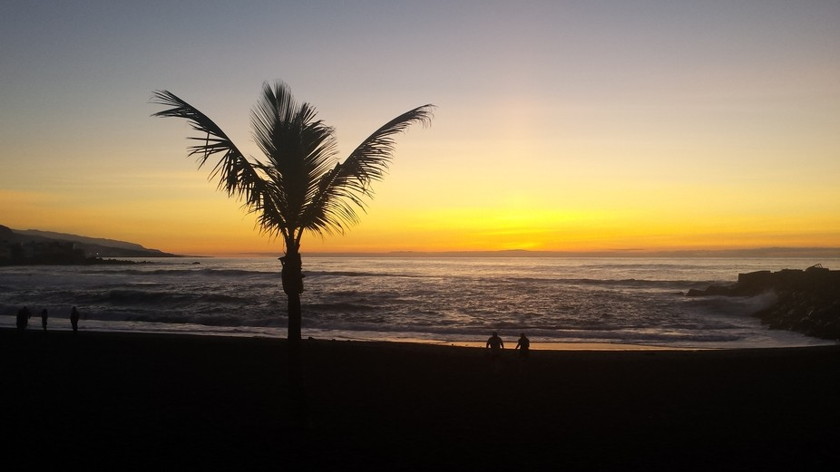 Sunset at Tenerife beach