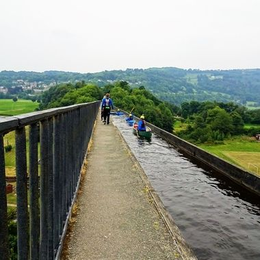 A must to visit when in Wales on The Pontcysyllte Aqueduct that carries the Llangollen Canal over the valley of the River Dee in Wrexham County Borough in north east Wales.Wow Amazing views !