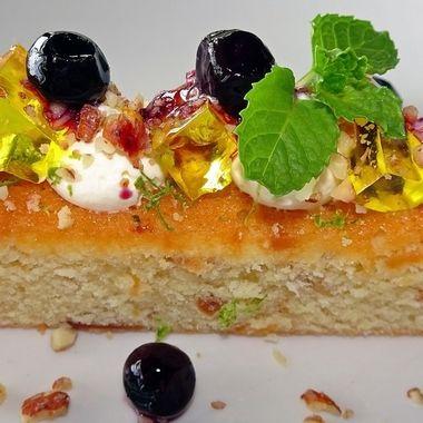 Delectable Dessert (1) - Caramelised Almond Financier, Blueberry & Citrus Mascapone